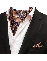 MOHSLEE Men Blue Yellow Floral 100% Silk Cravat Tie Woven Ascot Handkerchief Set