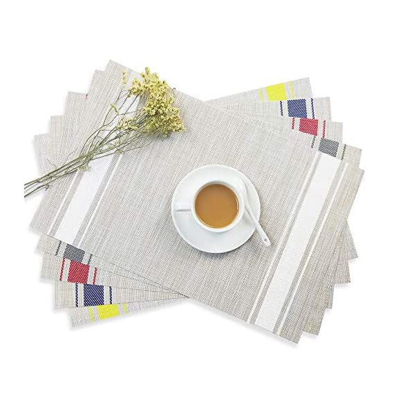 """YOSICHY Table Mats Set of 6 Crossweave Woven Vinyl Placemats Heat Resistant Non-Slip Kitchen Placemats for Dining Table Washable Easy to Clean(White) - Size in:18""""X12""""(45cmX30cm),Set of 4. Composition: 70% PVC, 30% polyester UV protected to resist fading, made of durable and ventilate material for everyday use with long lifespan,perfect for indoor or outdoor use Eco-friendly kitchen table mats, non-stain,washable and easy to clean, dries very quickly, can roll up to store away, placemats can be flattened when put out to use - placemats, kitchen-dining-room-table-linens, kitchen-dining-room - 51ob0kmaWLL. SS570  -"""