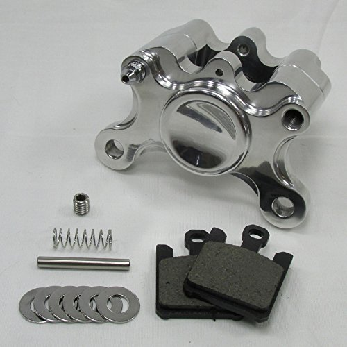 Polished Billet Aluminum Motorcycle 2-Piston Rear Brake Caliper WITH PADS - Harley Chopper Bobber Cafe Racerer WITH PADS - Harley Chopper Bobber Cafe Racer
