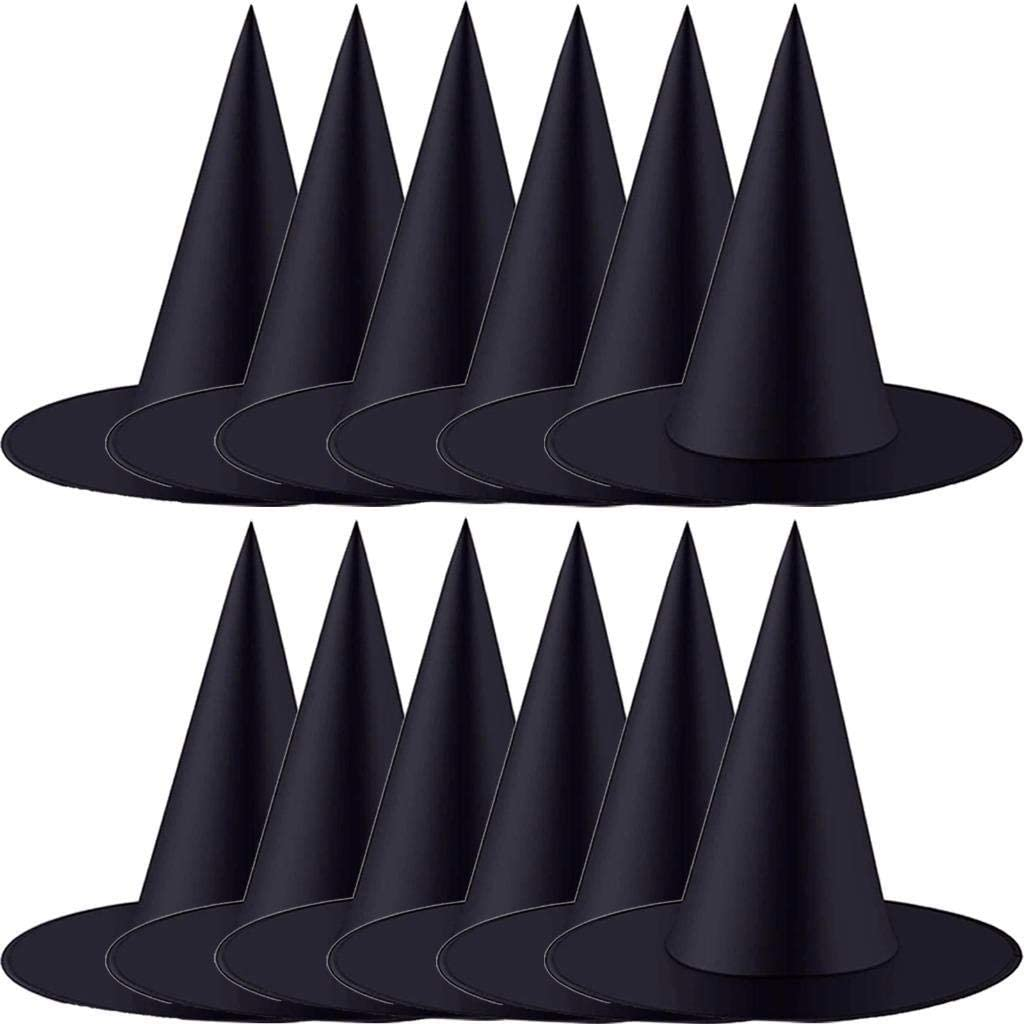 XIDAJIE 10 Pieces Halloween Witch Hat Halloween Witch Costume Accessory Halloween Cosplay Favors for Holiday Halloween Christmas Party Black