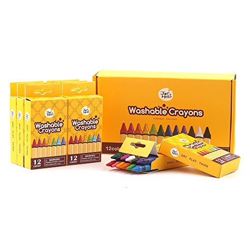 Bulk Buy: Jar Melo Back to School Supplies set; Washable Crayons 12 Colors- 8 Packs; Durable Crayons; Non Toxic; Art Tools by JARMELO