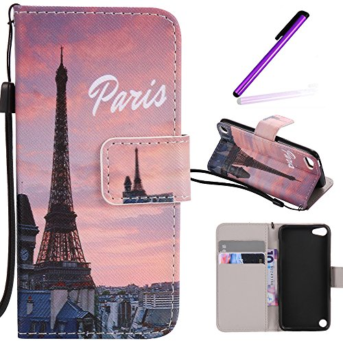 iPod Touch 5 Case,LEECOCO Fancy Paint Design Wallet Case with Card Slots Shocoproof Colorful Floral PU Leather Flip Stand Magnetic Case Cover for iPod Touch 6 with 1 Stylus Pen,Sunset Tower ()