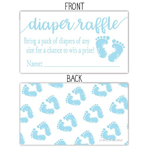 50 Blue Baby Feet Diaper Raffle Tickets - Boy Baby Shower Game by m&h invites (Image #1)