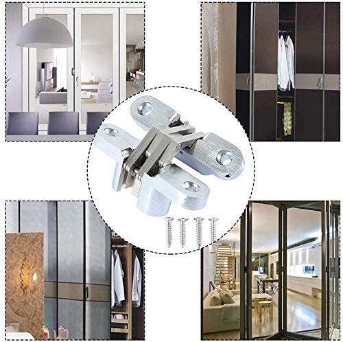 Pair of 1-3//4 Hidden Gate Hinge Stainless Steel Invisible Door Hinges Concealed Barrel Wooden Box Silver 2pcs