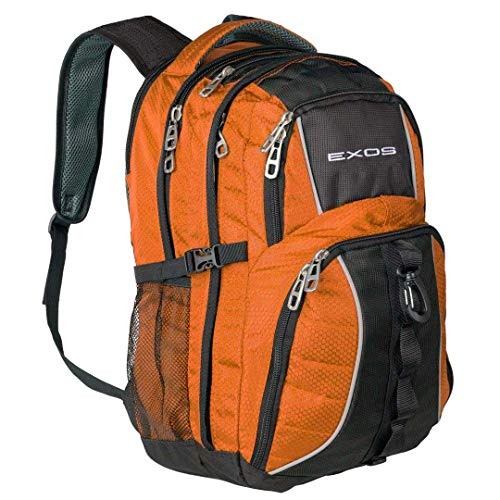 Backpack, (laptop, travel, school or business) Urban Commuter by EXOS (Burnt Orange/Black)