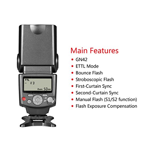 Voking VK430 E-TTL LCD Display Speedlite Shoe Mount Flash for Canon EOS 70D 77D 80D Rebel T7i T6i T6s T6 T5i T5 T4i T3i SL2 and Other Eos Digital DSLR Camera with Standard Hot Shoe Stand