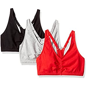 Fruit of the Loom Women's Adjustable Shirred Front Racerback Bra (Pack Of 3), Red Hot/Black/Heather Grey, 40