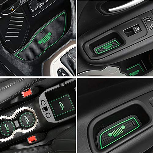 TOPPOWER Anti-dust Non-Slip Interior Door/Cup Mat Fit Jeep Renegade 2015-2017 16pcs (Green)