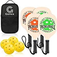 Gonex Wooden Pickleball Paddle Set with 4 Wood Pickleball Rackets, 4 Pickle Balls Wide Body Pickleball Racquet