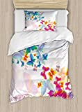 Butterflies Duvet Cover Set by Ambesonne, Colorful Flying Butterflies Fairy Tale Graphic Print Supernatural Home, 2 Piece Bedding Set with 1 Pillow Sham, Twin / Twin XL Size, Pink Blue Orange