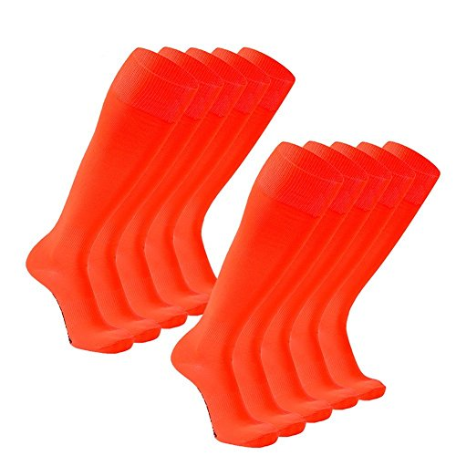 FOOTPLUS Soccer Socks, Knee High Cushioning Back to School Team Football Socks 10 Pairs Fluorescent Orange, (High School Football Teams)