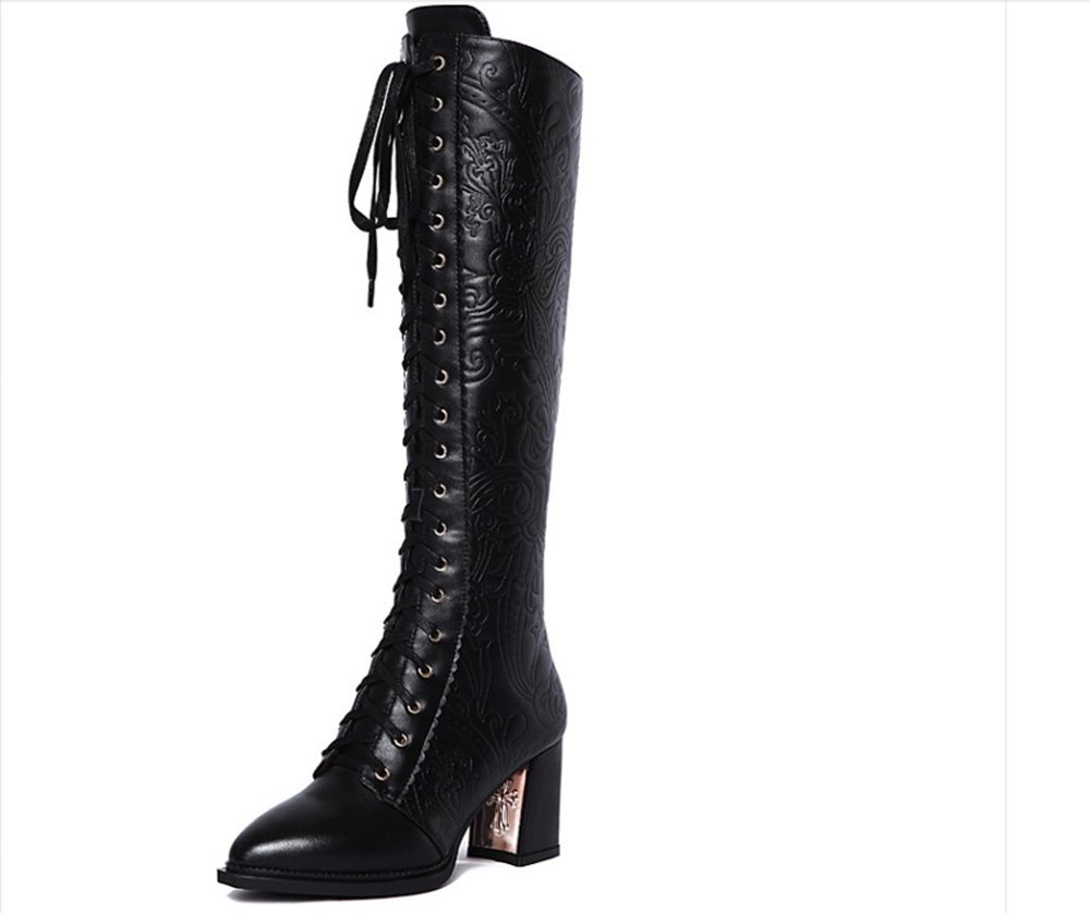 Nine Seven Genuine Leather Women's Pointed Toe Chunky Heel Lace Up Handmade Dressy Casual Over The Knee Boots (8.5, Black)