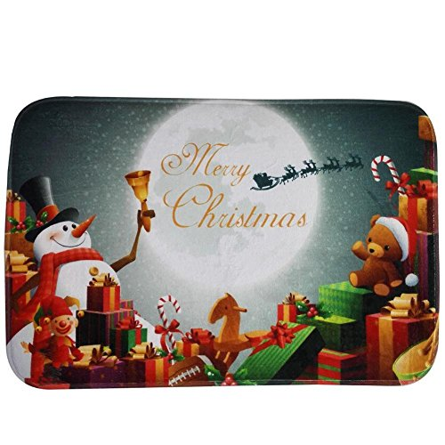 Cincinnati Bearcats Santa (Christmas Doormat Non Slip Rectangular Santa Claus Xmas Design Bathroom Rugs Mat Rug (Snowman, 15.75