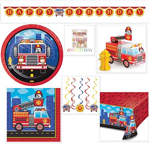 (Firefighter Birthday Party Bundle Includes: Happy Birthday Banner, Candles, Table Cover, Banner, Dizzy Danglers, 16 Dessert Plates, 16 Lunch)
