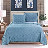 Kasentex Home Textile Luxurious 100% Natural Cotton Stone Washed Soft Washable Quilt Pillow Case Twin Full Single Queen King Size Blanket Bedding Coverlet Sets Fantastic Design with Solid Color