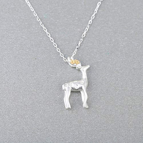 Weiduoli Necklace S925 Sterling Silver Necklace Cute Fawn Pendant Ladies Necklace Gift