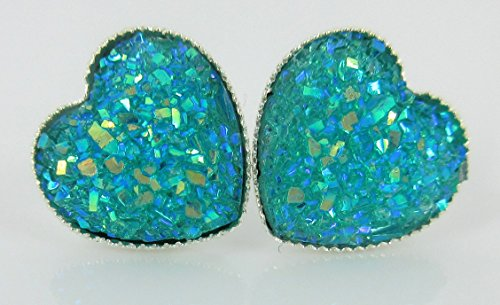 Silver-tone Aqua Blue AB Heart Faux Druzy Stone Stud Earrings 12mm