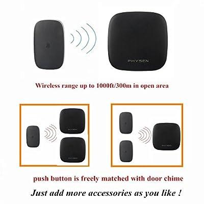 PHYSEN Model K (Black) Wireless Doorbell Kit with 3 Door Chimes and 2 Push