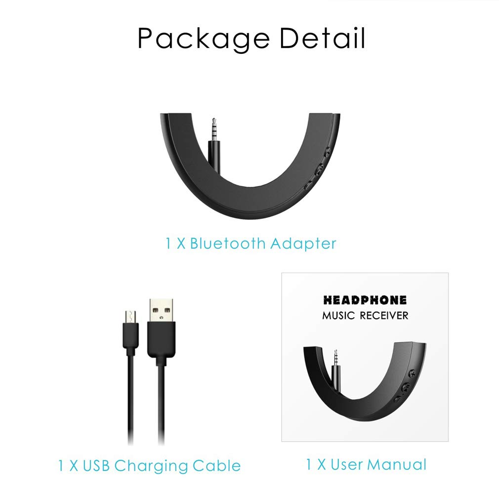 Red /& Black Bluetooth Adapter for QC 25 Bose Quietcomfort Headphone,Wireless V5.0 Bluetooth Adapter Headphones Receiver
