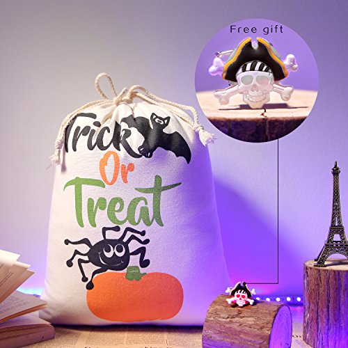 100 Percent Cotton Muslin Bags, Anan Kids Party Treat Goody Drawstring Trick or Treat Bags with Kids PartyPins Brooches Brooch Pin Reusable Produce Bags (14 x 17inch, Washable) (Bat-1)