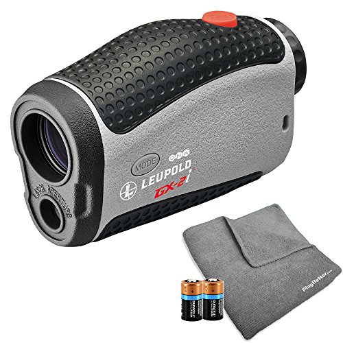 Leupold 2017 GX-2i3 Golf Rangefinder Bundle | Includes Golf Laser Rangefinder (Slope & Non-Slope Function) with Carrying Case, PlayBetter Microfiber Towel and Two (2) CR2 Batteries by PlayBetter