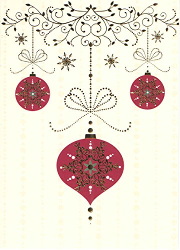 Premium Embellished 8 Deluxe Holiday Cards ~ Gold Foil Red Ornaments (5.5