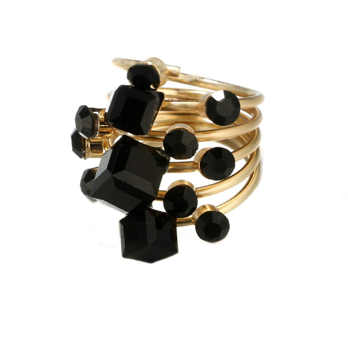 Essencedelight Golden Ring Black Rhinestone Elegant Opening Finger Ring Statement Ring Layer Cross Rings for Women Jewelry Gift