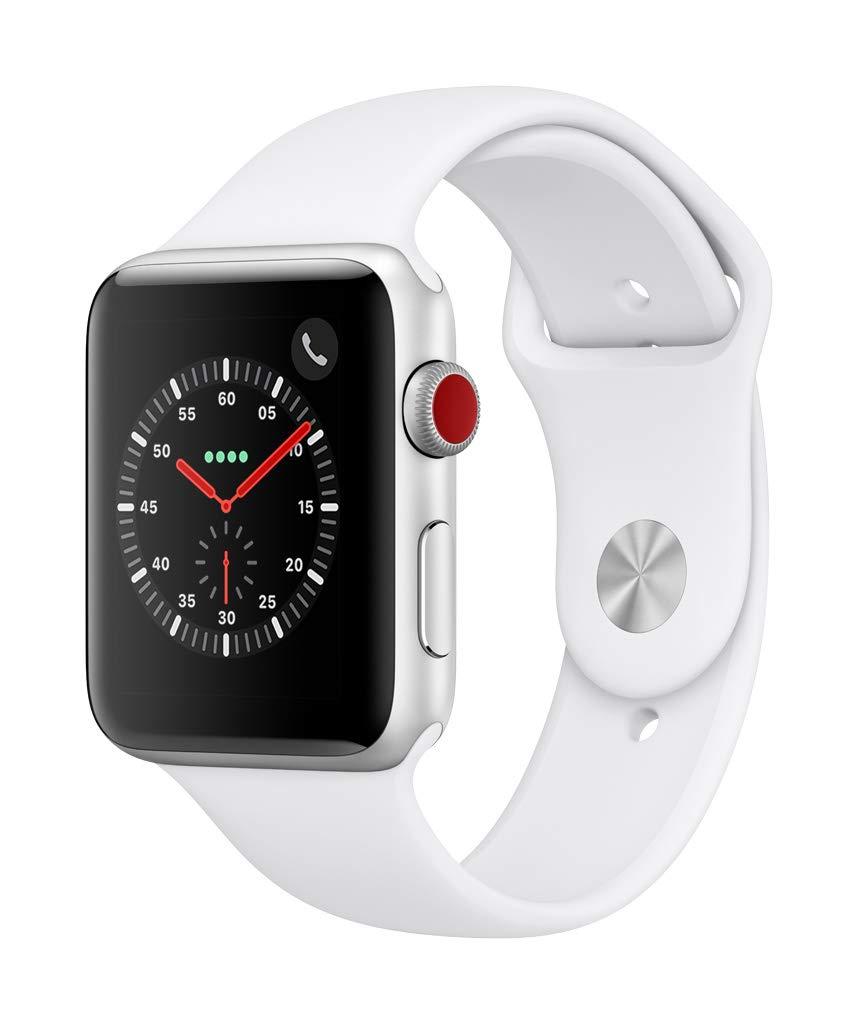 Apple Watch Series 3(GPS + Cellularモデル)- 42mmシルバーアルミニウムケースとホワイトスポーツバンド