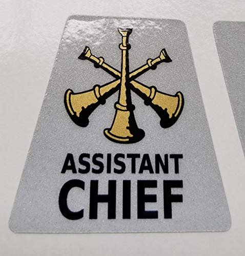 (High Performance Vinyl Graphics LLC Reflective Assistant Chief 3 Bugles Firefighter Rank Helmet Decal Tetrahedron with Gold Metallic)