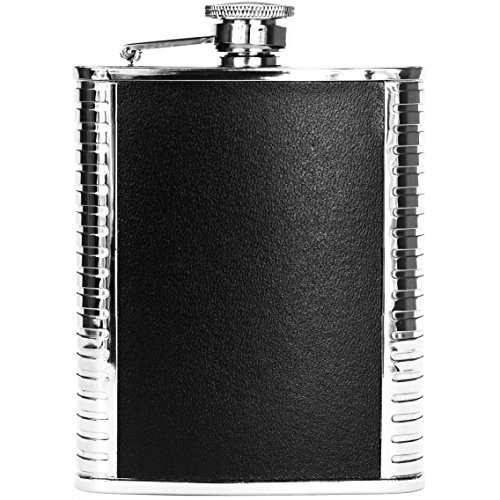 Top Shelf 6oz Hip Flask by Tetaman - Quality Leak Proof Black Leather & Stainless Steel for Drinking Liquor - The Perfect Gift! (Black Bonded Leather Flask)