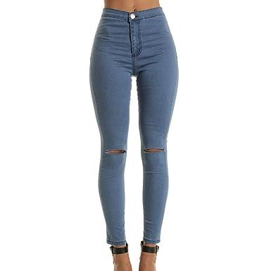 Yying Pantalones Vaqueros De Moda De Cintura Alta Flaco para ...