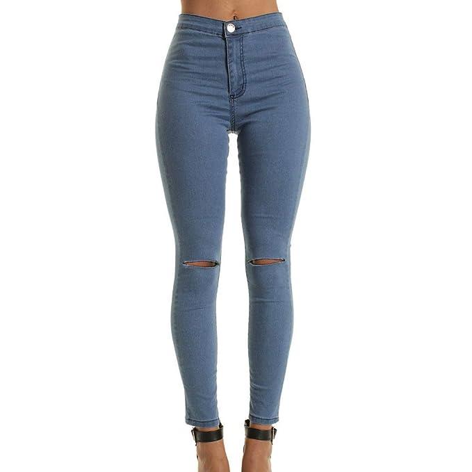 82cc67871 Yying Pantalones Vaqueros De Moda De Cintura Alta Flaco para Mujeres  Agujero Vintage Chicas Pantalones De Lápiz De Mezclilla Rasgado Delgado  M-2XL  ...