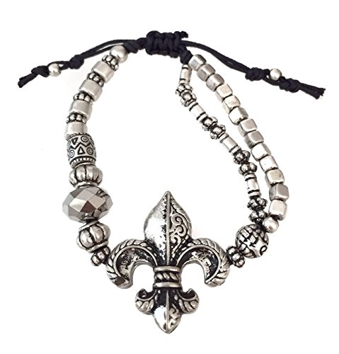 De Crystal Small Lis Fleur (Fleur De Lis Beaded Silver Tone Pull Tie Bracelet)