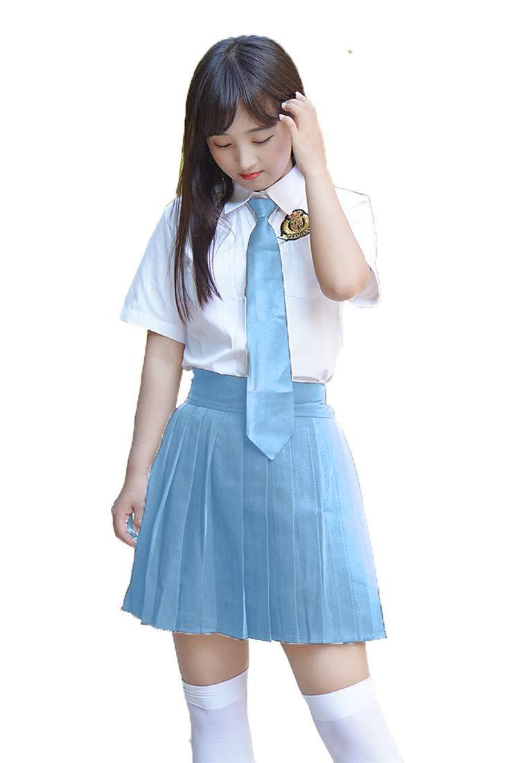 Beautifulfashionlife Women's High Waisted Pleated Mini Skirt A-line Shorts with Elastic Wide Waistband (Small(Waist:22 Inch), Light Blue) by Beautifulfashionlife
