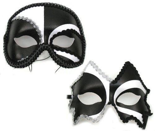 Success Creations Jagged-Antonio Black-White Masquerade Masks for a Couple ()