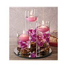 Set of x3 Decorative Glasses filled with Lilac Pebbles, Artificial Flowers & Floating Candles. Bathroom, Living Room by Klife