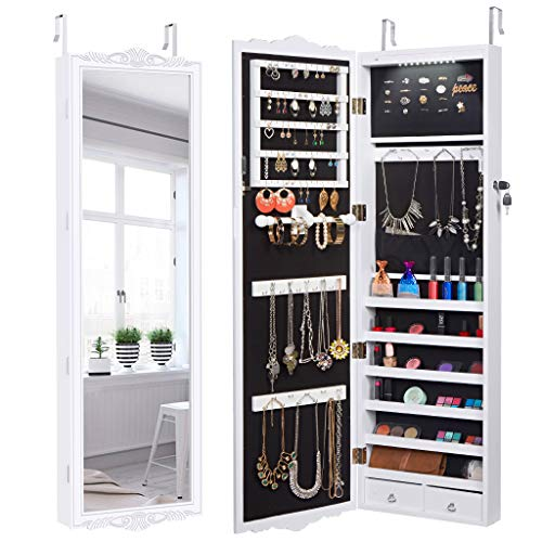 LANGRIA 10 LEDs Wall Door Mounted Jewelry Cabinet Lockable Jewelry Armoire Storage -