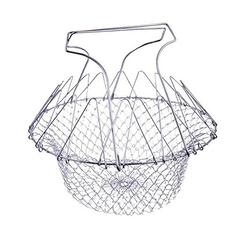 Chef Basket Durable Frying Basket Foldable 304 Food Grade Stainless Steel Deep Fry French Basket for Frying Chicken Chips Onion Rings Easy Clean LOVIN