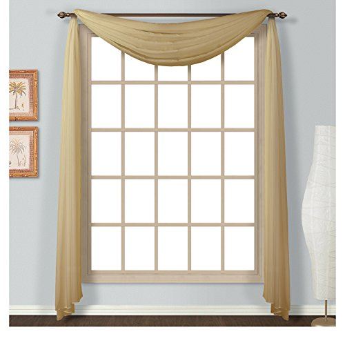 1 Piece Coordinating Voile Luxury Four-Yard 144-Inch Bronze Scarf Topper, Curtain, Decorative, And Contemporary Style, Beautiful Design, Solid Pattern, Polyester Material, Valance Type: Scarf, Taupe