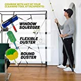 Pomatree Aluminum Telescopic Extension Pole 5 to 18 Feet Long | Multi-Purpose Telescoping Pole | Screw On Light Bulb Changer, Paint Roller, Window Squeegee and Duster Attachment Cleaning Tools
