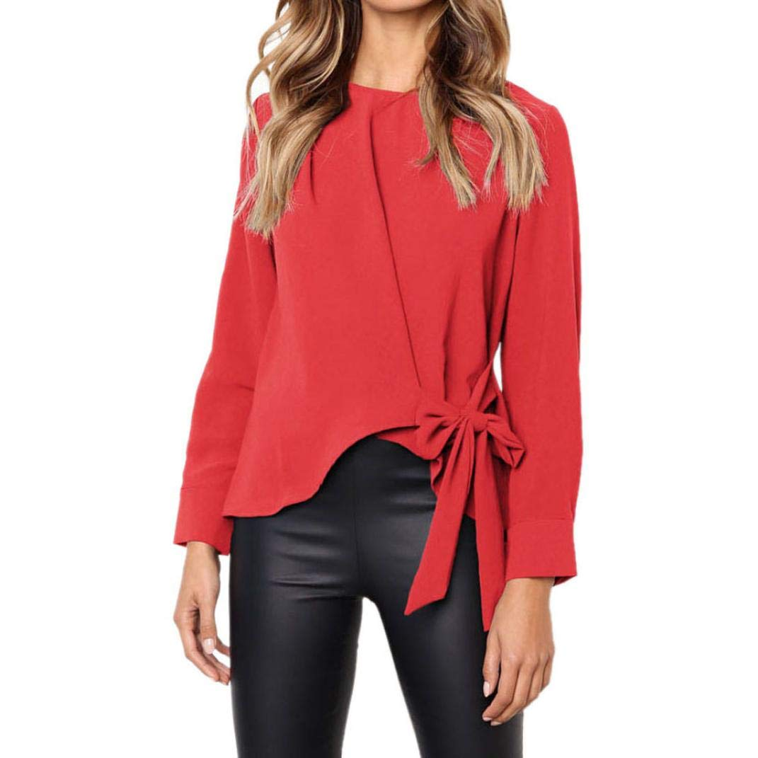 Realdo Casual Women Ladies Long Sleeve OL Shirt Tie Bow Loose Tops Blouse