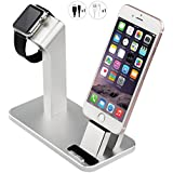 Aluminum Charging Stand Charger Dock Station Nightstand Compatible Apple Watch 38mm 42mm /iPad/iPhone X/ 8/8 Plus/ 7Plus/ 7/ 6Plus/ 6S/ 6/SE/ 5S / 5(Sliver)