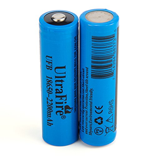 Ultrafire 18650 2200mAh MAX Battery 3.7V Li-ion rechargeable batteries Button Top Battery(2 Piece)