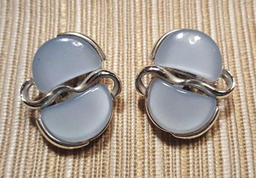 Vintage Silvertone Signed CORO Clip On Earrings w Soft Blue Thermoset ()