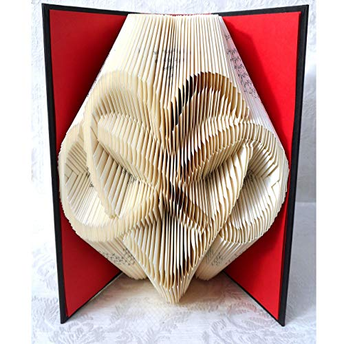 Hand Folded Book Art Sculpture,Heart and Infinity Sign, Wedding 1st Anniversary Valentine's Day Gift