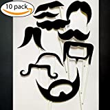MUSTACHES Photo Booth Props – 10 pieces, Ready to use for Birthday, Wedding, Baby Shower, Bachelorette Party, sweet sixteen for any Party or any event. Wedding Photo Booth props. Birthday Photo booth