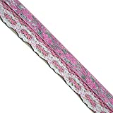 Jacquard Pink Floral/Silver, Pink/White Crochet lace Edge,LE1011, Width:1-1/4'' (33mm) - 5 Yards