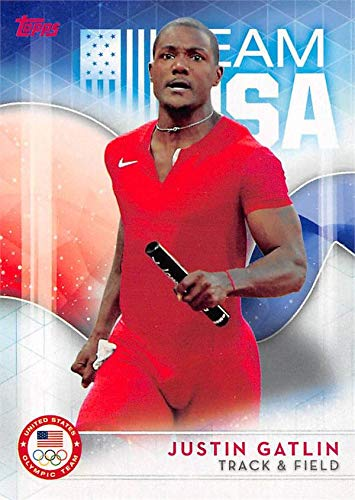 Justin Gatlin trading card (United States Olympic Team, Track & Field) 2016 Topps #32 by Autograph Warehouse