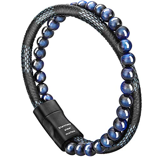 murtoo Mens Bead Leather Bracelet, Blue and Brown Bead and Leather Bracelet for Men (Blue-Black) (Turquoise Link Bracelet Set)