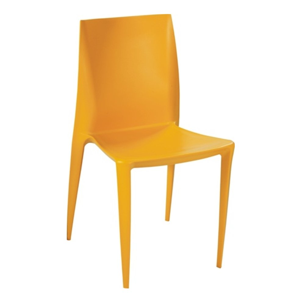 Modern Contemporary Dining Chair, Yellow, Plastic
